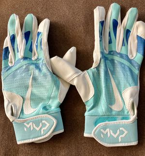 Blue and white MVP girls softball batting gloves flexible and comfortable lightly used for Sale in Gilbert, AZ