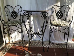 3 Piece Bistro Table Set Granite and Wrought Iron for Sale in Kingsley, MI