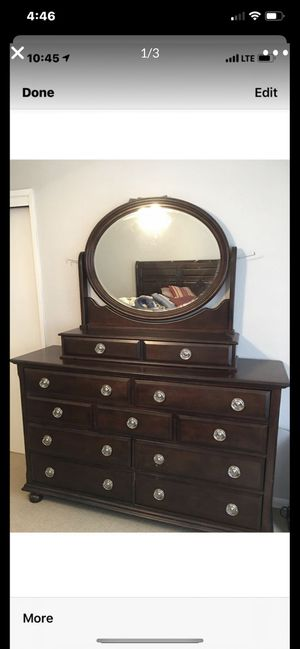 Beautiful dark brown & soft headboard complete with mattresses and dresser $400 cash only for Sale in Fresno, CA