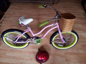 Girls bike w basket and helmet for Sale in New York, NY