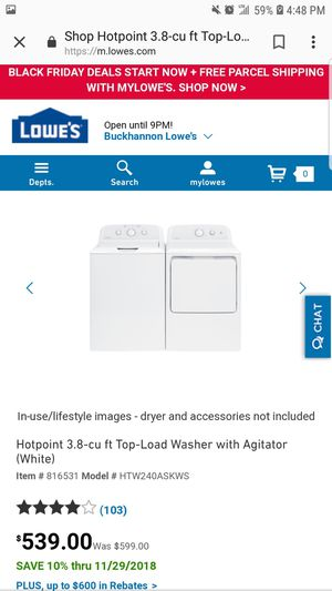 Hot Point washer and dryer for Sale in Glenville, WV