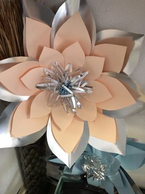 Peach and blue paper flowers for Sale in Houston, TX