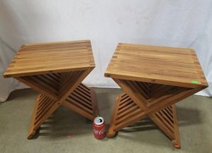 Gorgeous Set of Teak Folding End Tables - Delivery Available for Sale in Joint Base Lewis-McChord, WA