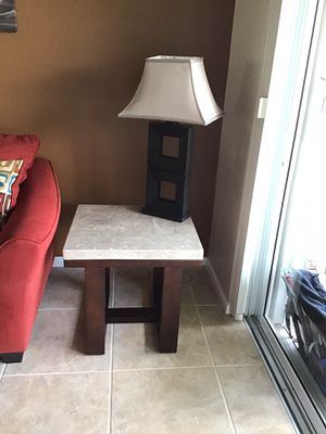 TV wood cabinet $75.00, Love Seat & Queen Sleeper (sleeper never used) $450.00, 6 pc Canvas Art $30.00, 2 Lamps $60.00 for both, 2 End Tables, 1 Coff for Sale in West Palm Beach, FL