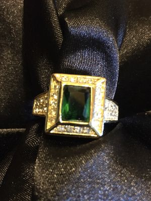 Simulated Emeralds & Diamonds Gold Plated Ring Size 10 for Sale in Raymore, MO