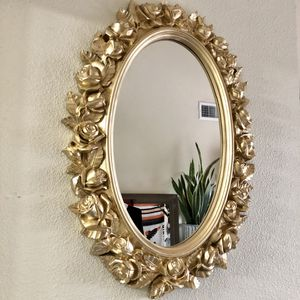 """26"""" vintage gold roses Art Deco oval wall mirror for Sale in San Diego, CA"""