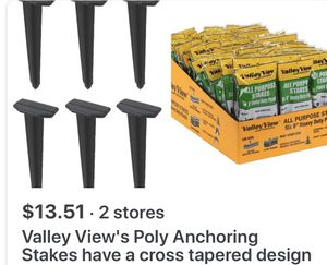 """NEW Package Six 9"""" Heavy Duty Plastic Stakes Camping, edging, for Sale in Young, AZ"""
