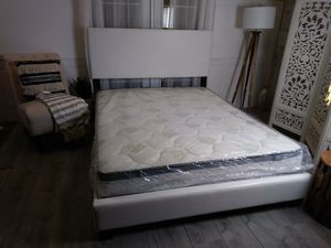 New White Queen Bed Frames Leather Headboard Platform Beds Frame for Sale in Baltimore, MD