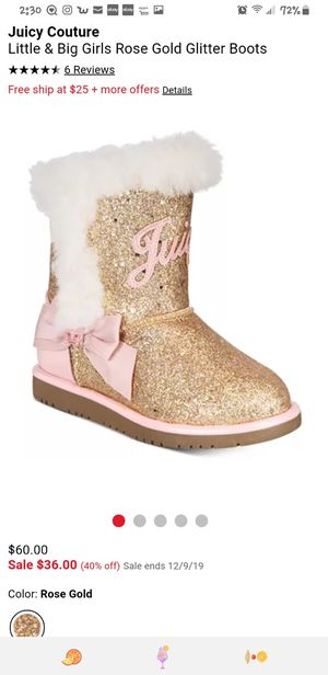 Warm Juicy Couture Little & Big Girls Rose Gold Glitter Boots toddler girl size 8 for Sale in Oak Lawn, IL