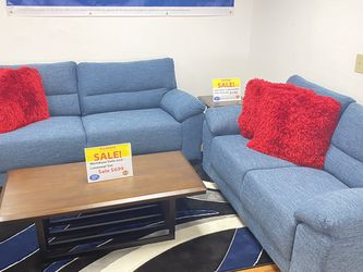 SALE!!! Mendoza Blue Fabric Sofa And Loveseat $699. No Credit Needed Financing. Same Day Delivery 🚚!!! for Sale in Tampa,  FL