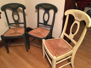 Pottery Barn Napoleon wood/rush seat side chairs (3) for Sale in Washington, DC