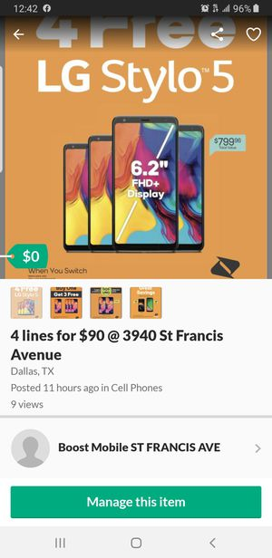 ALL FREE PHONES. LG STYLO5 SAM A10E. JUST COME AND ASK. @3940 St Francis Avenue for Sale in Dallas, TX