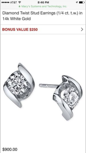 Sirena Diamond Twist Stud Earrings for Sale in Seattle, WA