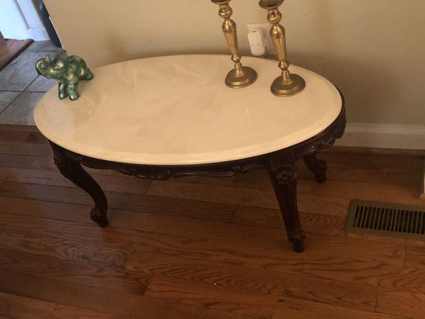 2 Marble and Cherry Wood Tables