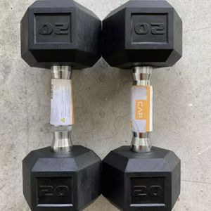 New Cap 20 LB Pound Dumbbells Pair (2) Rubber Coated Hex Dumbbells 40lb Total for Sale in Parkland, WA