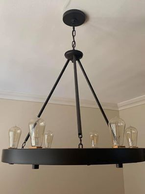 Matte-black 6 bulb contemporary Wagon Wheel Chandelier for Sale in Hollywood, FL