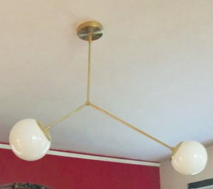 Mid Century Modern Globe Ceiling Light Fixture, Brass Asymmetric Balance Chandelier Lamp, Handmade for Sale in Providence, RI