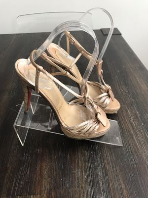 Christian Louboutin 130 Ankle Strap Cut Out Platform Sandal Cork Heel Pump 37.5. Condition is Pre-owned. See pictures ask questions and make an offer! for Sale in Queens, NY