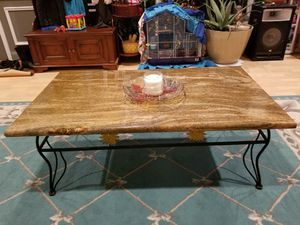 Brown granite center table with black metal frame. for Sale in Sterling, VA
