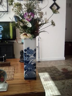 Blue vase with flowers for Sale in Visalia, CA