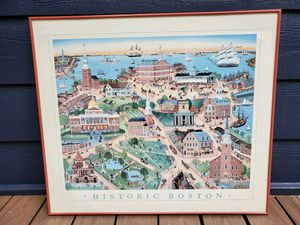 Vintage framed print of historic Boston for Sale in Tacoma, WA