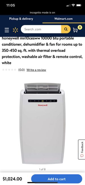 honeywell mn10cesww 10000 btu portable conditioner, dehumidifier & fan for rooms up to 350-450 sq. ft. with thermal overload protection, washable ai for Sale in Washington, DC