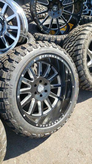 22x12 black hardcore rims 6 lug 6x139 6x5.5 on new mud terrain tires 33 1250 22 lt for Sale in Phoenix, AZ
