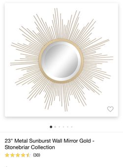 "23"" Metal Sunburts Wall Mirror Gold for Sale in South Gate,  CA"