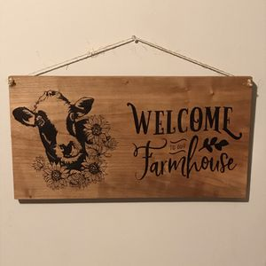 Welcome Farmhouse Cow Flowers Hand Burned Wood Sign for Sale in Lester, WV