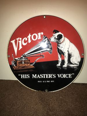 Vintage RCA victor his master voice porcelain sign for Sale in Ontario, CA