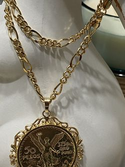 """50 Pesos Medallion Pendant With Chain Necklace 22"""" 5mm for Sale in Nashville,  TN"""