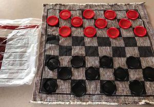 Complete Huge Fabric Checkers and Tic Tac Toe Board Games with Bag Travel Kids Play Childrens. Available for pick up in Plainfield Route 59 and Caton for Sale in Plainfield, IL