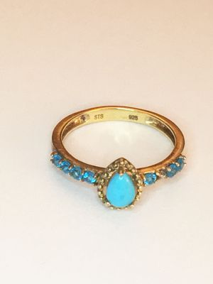 Gold over sterling silver turquoise ring size 8 for Sale in Corona, CA