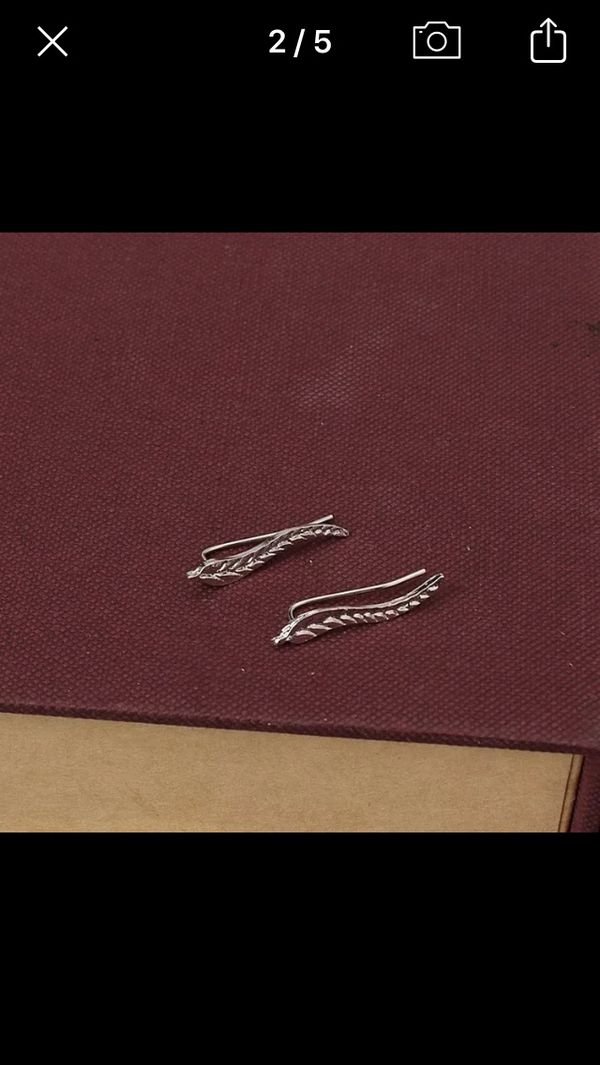 Boho Leaf/Wing Gold Climbing Earrings