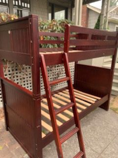 Wooden bunk bed, can also be used as 2 twin beds. With gently used new mattress for Sale in Seattle, WA