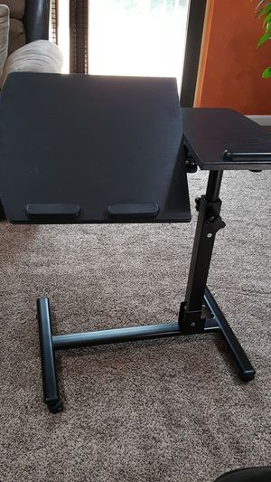 Lot of 2 Black Adjustable Rolling Desk/Bed Cart/Tray/Stand for Sale in Rochester, MI