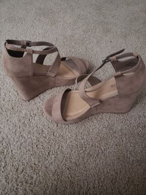 Beige Strappy Wedge Heels (Size 9W) for Sale in Woodbridge, VA