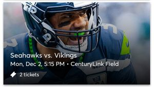 MONDAY NIGHT FOOTBALL SEAHAWKS VS VIKINGS for Sale in Tacoma, WA