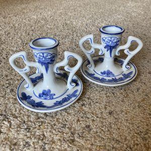 ‼️Blue & White Ceramic Candlesticks‼️ for Sale in Edgar, WI