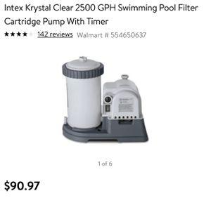 Intex Krystal Clear 2500 GPH Swimming Pool Filter Cartridge Pump With Timer - $90 retail for Sale in Las Vegas, NV