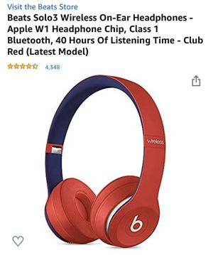 Beats Solo3 Wireless On-Ear Headphones - Apple W1 Headphone Chip, Class 1 Bluetooth, 40 Hours Of Listening Time - Club Red (Latest Model) for Sale in Plainfield, NJ