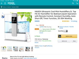 Cool mist humidifier with remote control for Sale in Menifee, CA