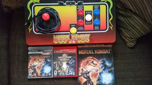 PS3 w kombat arcade joystick and comes with mortal kombat games mortal kombat vs DC and mortal kombat cheat codes book for Sale in Fort Worth, TX