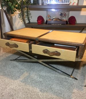 Trunk luggage coffee table canvas & leather retail $980 for Sale in San Diego, CA