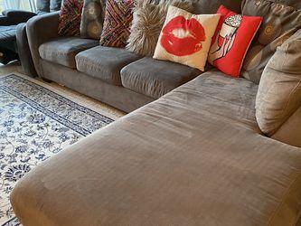 L sofa with Manual Recliner Gray chair for Sale in Santa Clarita,  CA
