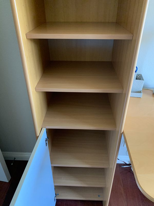 Plummer's desk and bookshelves