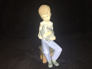 Lladro Nao Handmade In Spain Porcelain Figurine - Little Boy Holding A Dog for Sale in Charleroi, PA