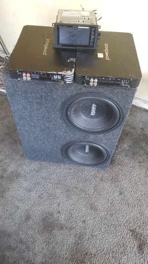 2 powerbass amps 1500 watts a piece and 4 12s mmats pro audio and TV radio double din for Sale in Chicago, IL