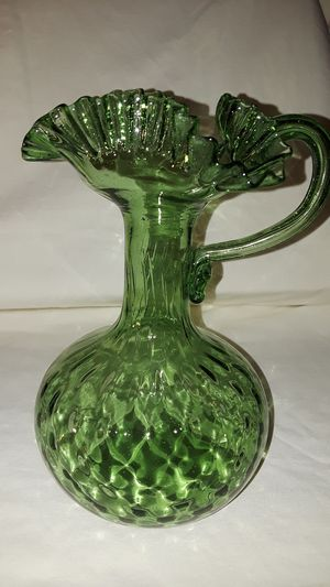 Antique hand blown green glass pitcher for Sale in Vista, CA