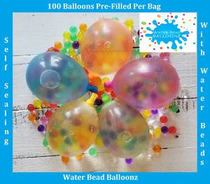 Water bead balloonz 100 per bag pre filled with water beads and self sealing balloons for Sale in Atwater, CA